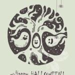 Постер, плакат: Halloween greeting card Hand drawn Halloween poster with cute Halloween tree and ghosts