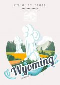 Wyoming vector american poster USA travel illustration United States of America colorful greeting card US Banner