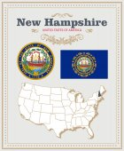 High detailed vector set with flag coat of arms map of New Hampshire American poster Greeting card from United States of America