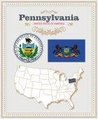 High detailed vector set with flag coat of arms map of Pennsylvania American poster Greeting card from United States of America