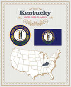 High detailed vector set with flag coat of arms map of Kentucky American poster Greeting card from United States of America