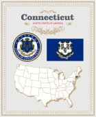 High detailed vector set with flag coat of arms map of Connecticut American poster Greeting card from United States of America Colorful design