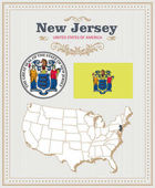 High detailed vector set with flag coat of arms map of New Jersey American poster Greeting card from United States of America