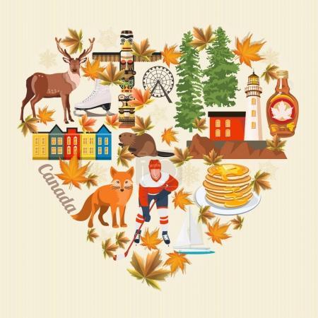 Illustration pour Le Canada. Illustration vectorielle canadienne. Carte postale de voyage. Ensemble d'icônes canadiennes - image libre de droit