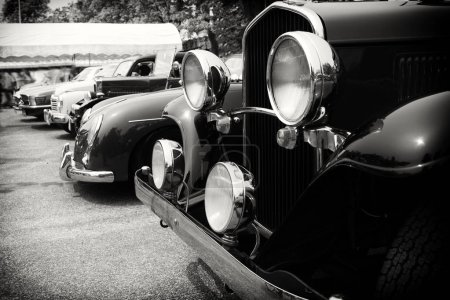 Black and white photo of classic car