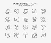 insurance concepts thin line icons