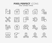 home renovation thin line icons