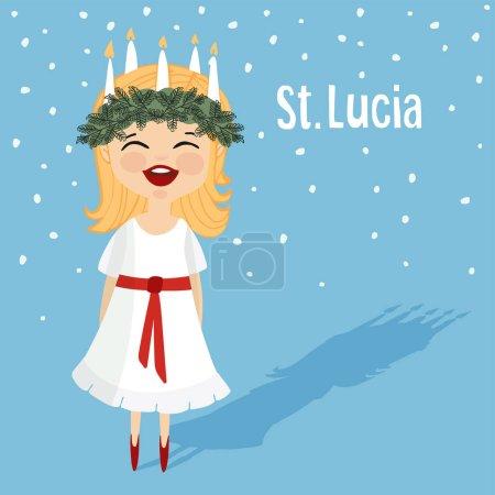 Illustration pour Jolie petite fille avec couronne de couronnes et de bougies, Sainte Lucie. Tradition de Noël suédoise. Conception plate, fond vectoriel illustration . - image libre de droit