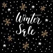 Zimní prodej pozadí s ručně psaný text, doodle sněhové vločky. Obchodní koncept. Vektor