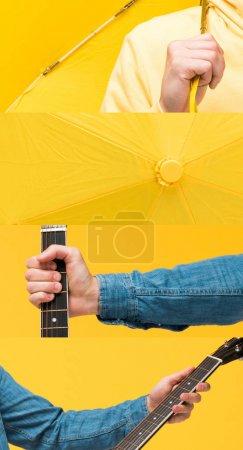 Photo pour Collage de l'homme tenant guitare acoustique et parapluie isolé sur jaune - image libre de droit