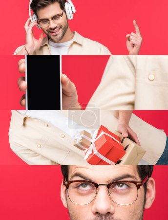 collage of smiling man listening music, holding smartphone and gifts and looking up in eyeglasses isolated on red