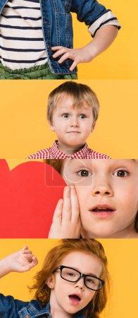 Photo pour Collage d'enfants grimaçant et montrant des émotions différentes isolées sur jaune - image libre de droit