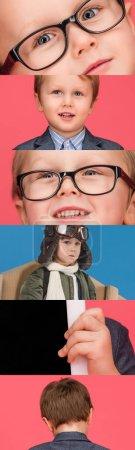 Photo pour Collage de garçon émotionnel dans des lunettes sur fond rose et bleu - image libre de droit