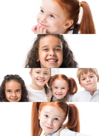 Photo for Collage of happy multiethnic kids isolated on white - Royalty Free Image
