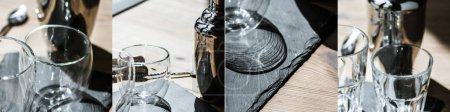 collage of clean glasses on wooden surface