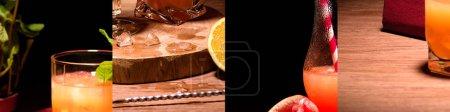 Photo pour Collage de délicieux cocktails alcoolisés, glaçons et orange - image libre de droit