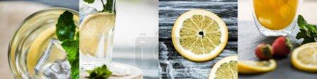 Photo pour Collage de citrons, fraises et feuilles de menthe fraîche près des cocktails - image libre de droit