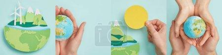 Photo pour Collage de l'homme et de la femme tenant le globe terrestre, papier découpé avec terre isolée sur bleu, concept environnemental - image libre de droit