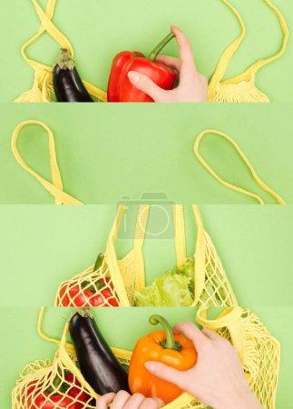 Photo pour Collage de femme près sac à ficelle réutilisable avec des légumes isolés sur vert, concept écologique - image libre de droit