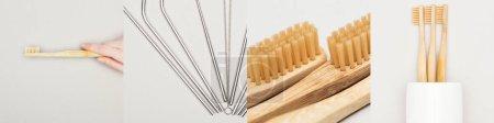 Photo pour Collage de femme tenant une brosse à dents en bois près de pailles métalliques isolées sur blanc, concept respectueux de l'environnement - image libre de droit