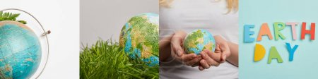 Photo pour Collage of woman holding globe, green grass and earth day lettering, eco-friendly concept - image libre de droit