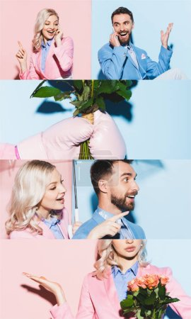collage of happy woman and man talking on smartphones, holding roses and gesturing on blue and pink