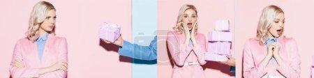 Photo pour Collage de l'homme donnant des cadeaux femme attrayant et surpris femme - image libre de droit