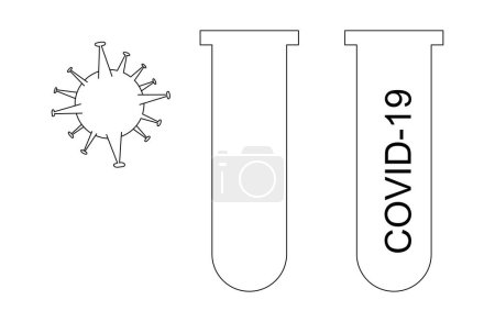 Illustration for Molecule of coronavirus near flask with covid-19 lettering isolated on white - Royalty Free Image