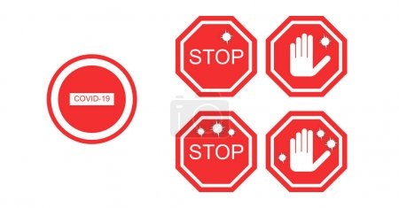 Illustration for Coronavirus red no signs isolated on white - Royalty Free Image