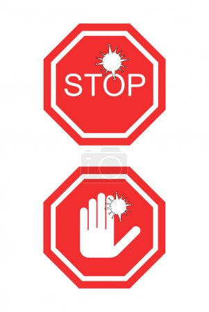 coronavirus red no signs with stop word and hand isolated on white