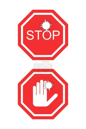 Illustration for Coronavirus red no signs with stop word and hand isolated on white - Royalty Free Image