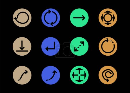 Illustration for Arrows in multicolored circles and different directions isolated on black - Royalty Free Image