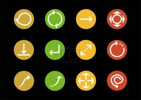 Illustration pour Flèches en cercles multicolores et différentes directions isolées sur noir - image libre de droit