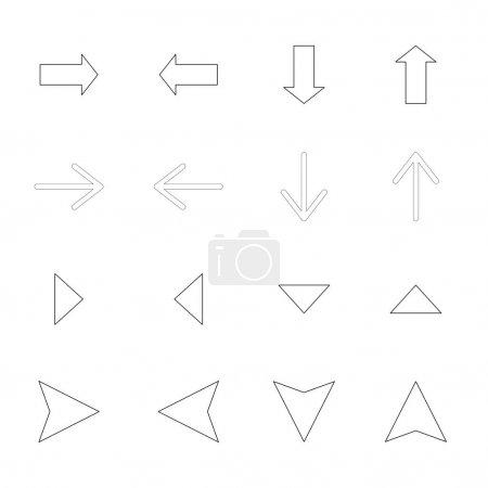 Pfeile in verschiedene Richtungen isoliert auf weiß