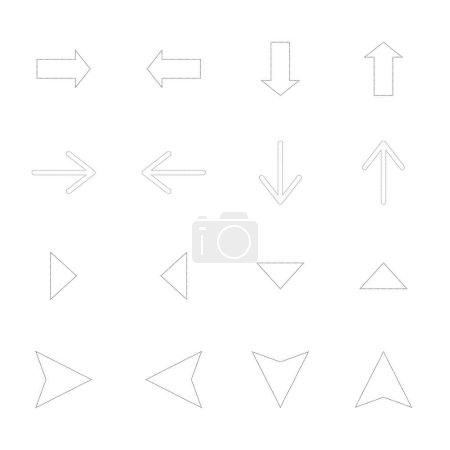 Illustration for Arrows in different directions isolated on white - Royalty Free Image
