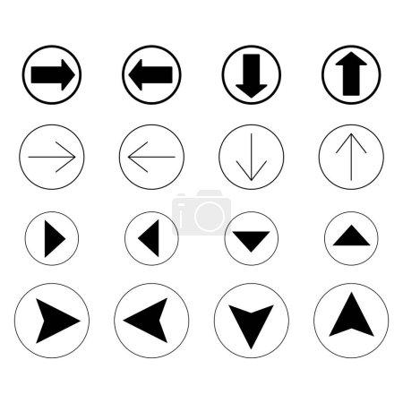 Ilustración de Flechas negras en diferentes direcciones aisladas sobre blanco - Imagen libre de derechos