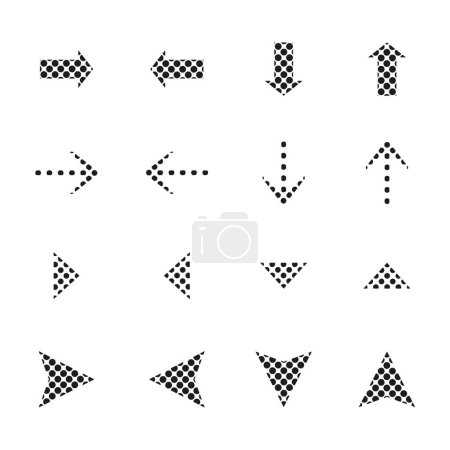 Illustration for Dotted black arrows in different directions isolated on white - Royalty Free Image