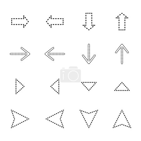 Illustration for Black dotted line arrows in different directions isolated on white - Royalty Free Image