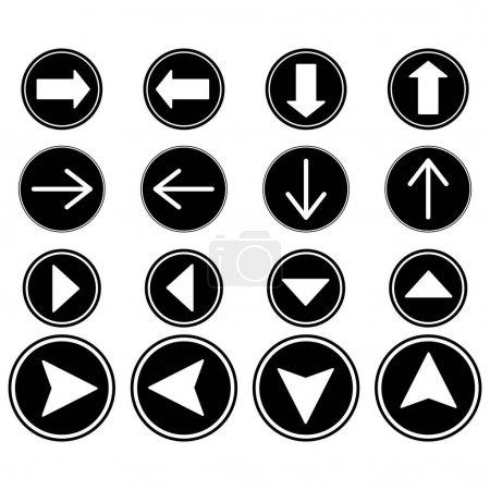 Illustration pour Flèches en cercles noirs dans différentes directions isolées sur blanc - image libre de droit