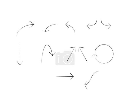 Illustration for Black arrows in different directions isolated on white - Royalty Free Image
