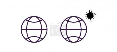 Illustration for Coronavirus molecule and globes isolated on white - Royalty Free Image