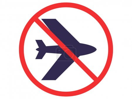 Illustration for Red no sign with airplane isolated on white - Royalty Free Image