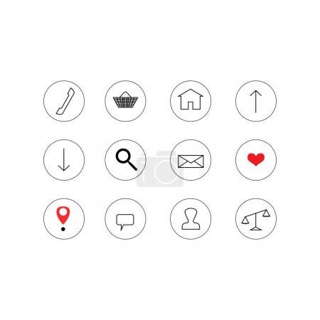 Ilustración de Iconos vectoriales en círculos de fondo blanco - Imagen libre de derechos