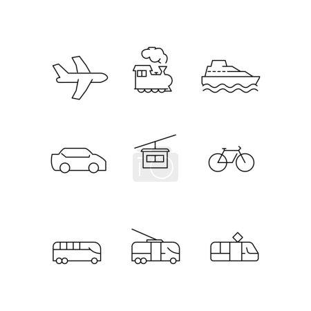 Illustration pour Icônes de transport vectoriel sur fond blanc - image libre de droit
