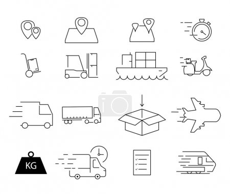 Illustration for Vector shipping icons on white background - Royalty Free Image