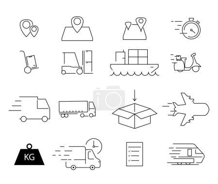 Illustration pour Icônes d'expédition vectorielle sur fond blanc - image libre de droit