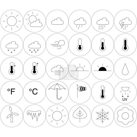 Illustration for Vector weather icons in circles on white background - Royalty Free Image