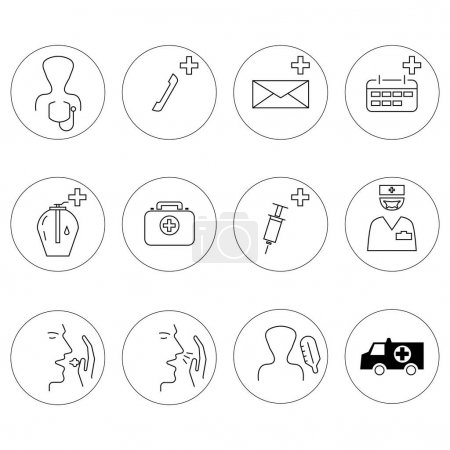 Illustration for Vector healthcare icons in circles on white background - Royalty Free Image