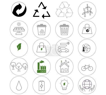 Umweltvektorsymbole im Kreis auf weißem Hintergrund