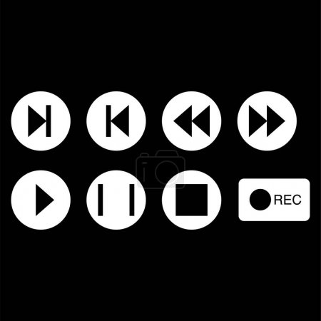 Illustration for Vector music buttons icons in white circles on black background - Royalty Free Image